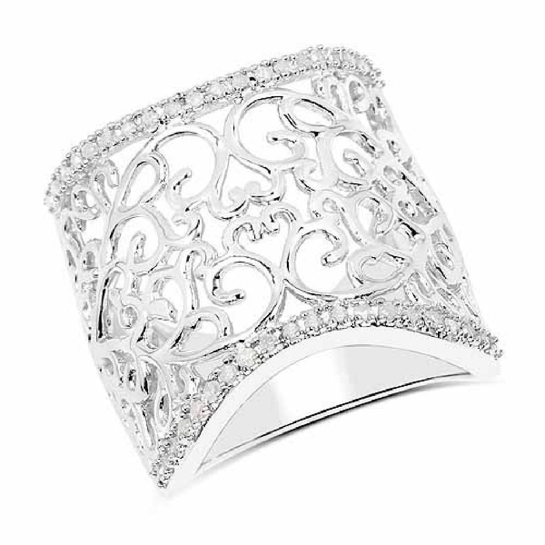 0.25 Carat Genuine White Diamond .925 Sterling Silver R