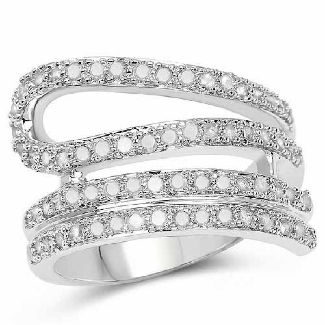0.83 Carat Genuine White Diamond .925 Sterling Silver R