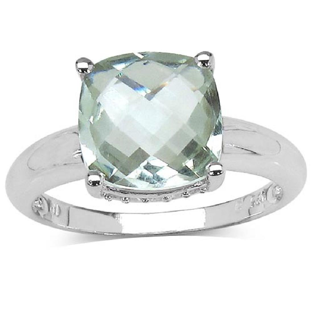 3.40 ct. t.w. Green Amethyst and White Topaz Ring in St