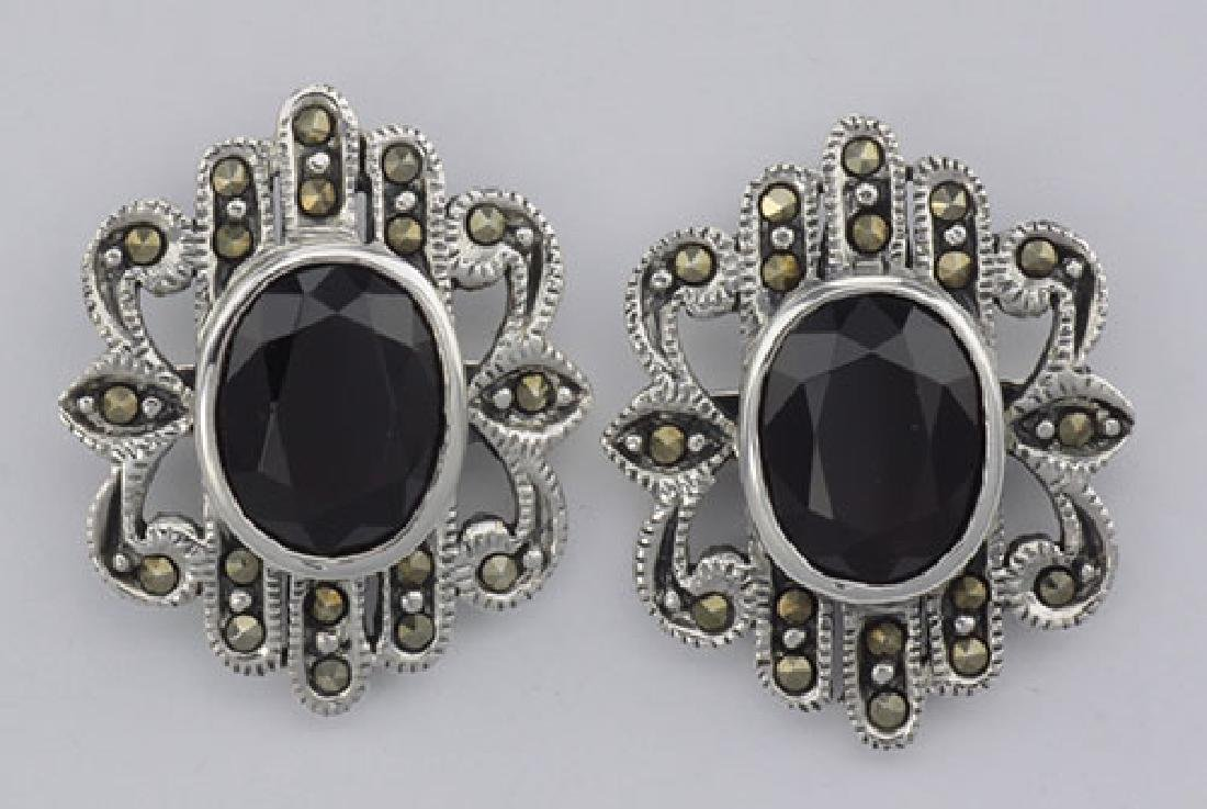 Victorian Style Red Garnet Marcasite Earrings - Large -