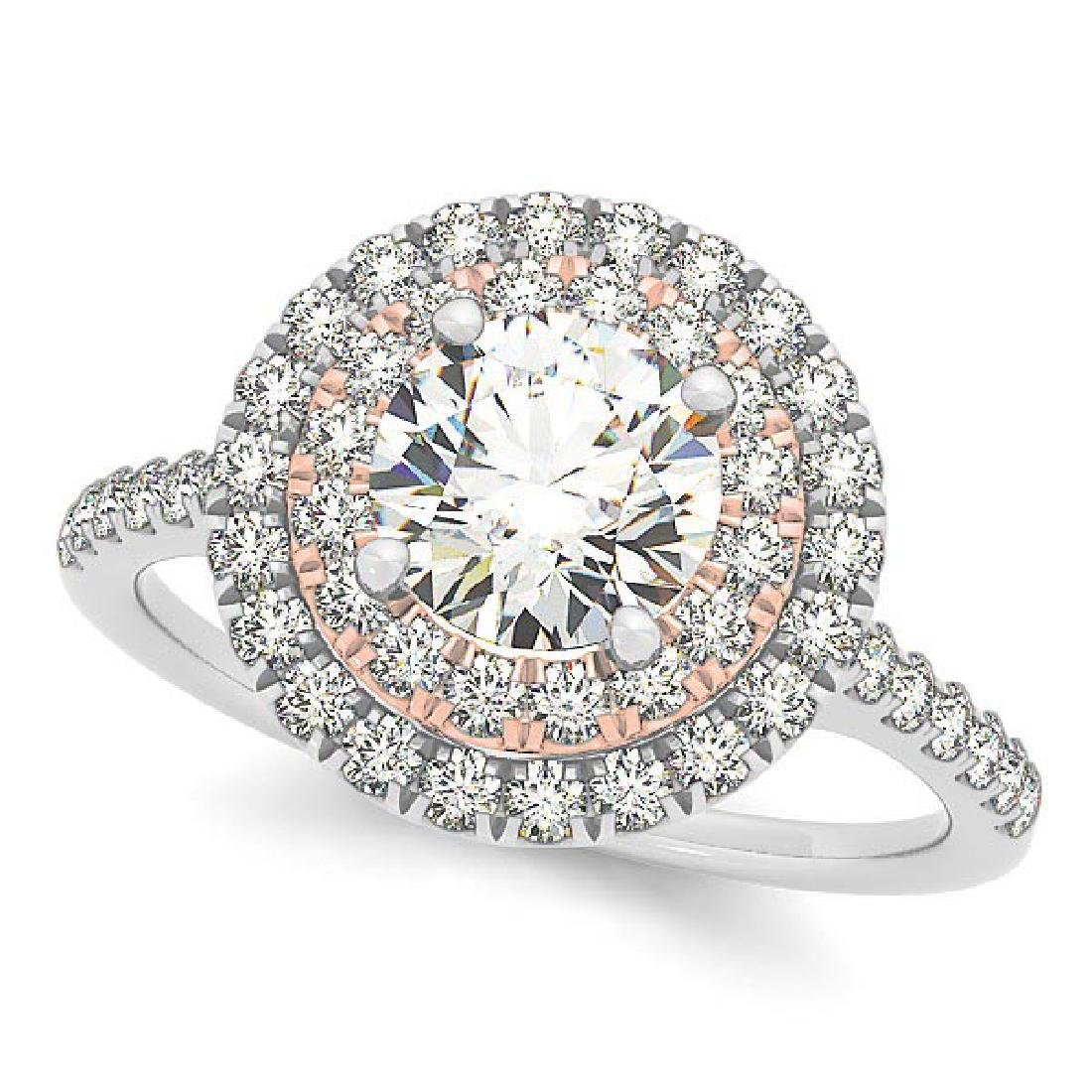 Double Halo Round Diamond Engagement Ring 14k Two Tone