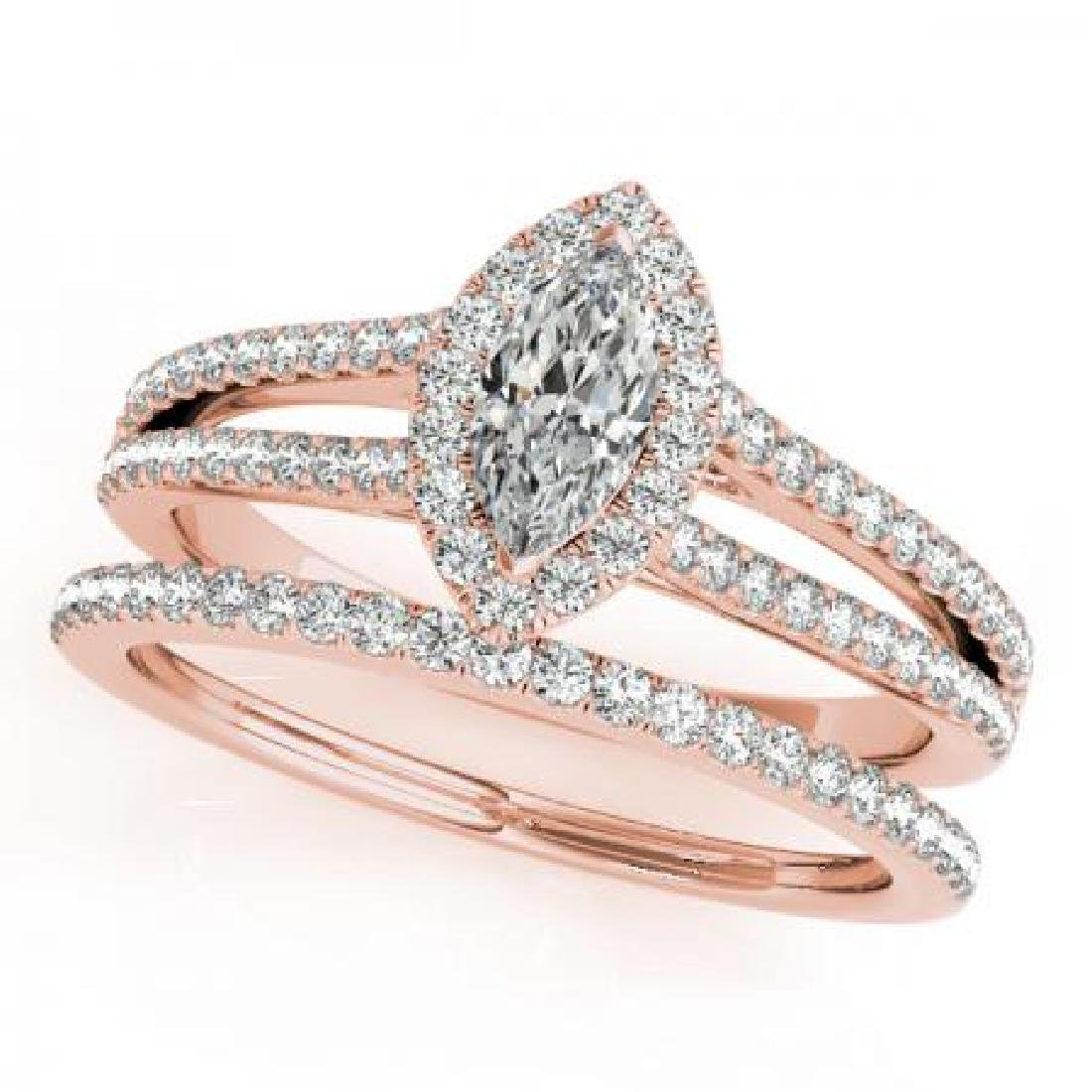 CERTIFIED 14KT ROSE GOLD 1.00 CT G-H/VS-SI1 DIAMOND HAL