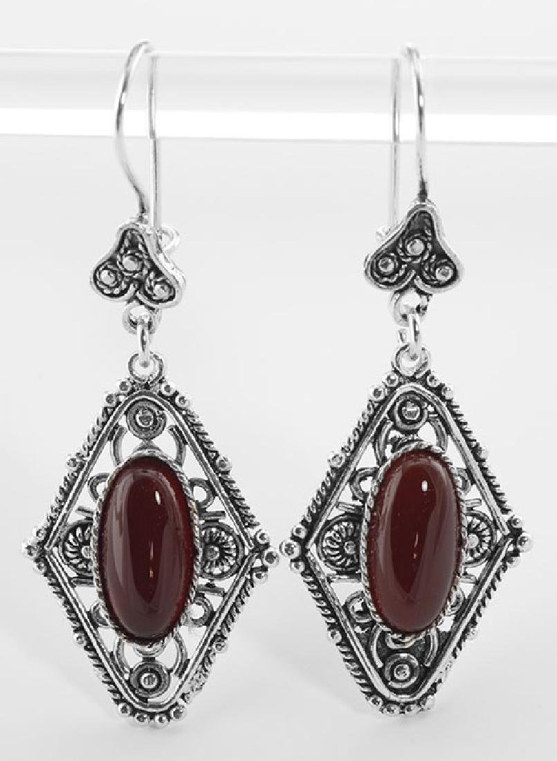 Red Agate Earrings - Sterling Silver