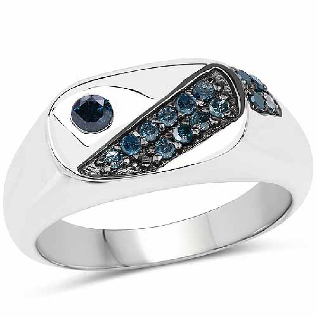 0.31 Carat Genuine Blue Diamond .925 Sterling Silver Ri