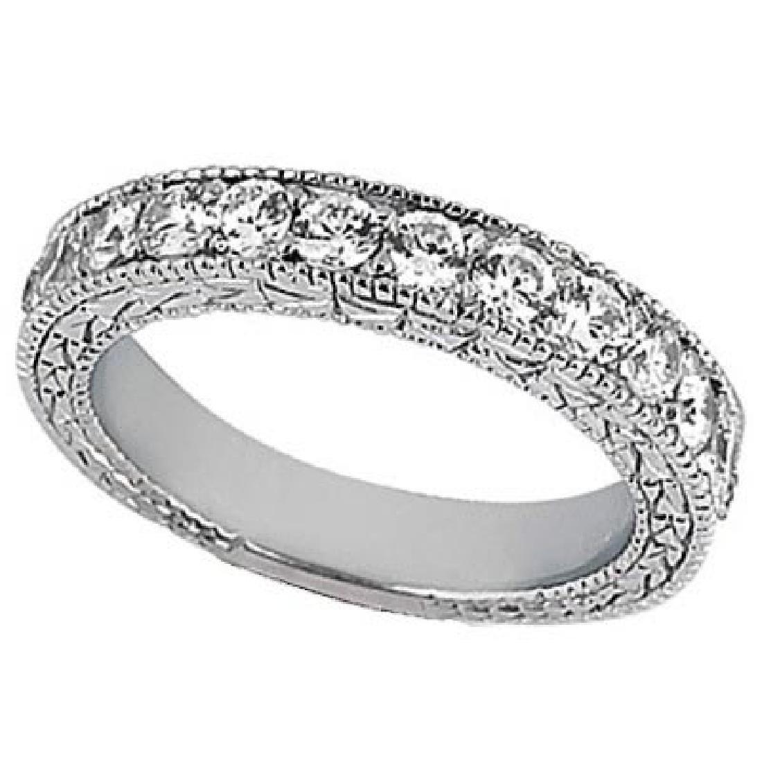 Antique Style Pave Set Wedding Ring Band 14k White Gold