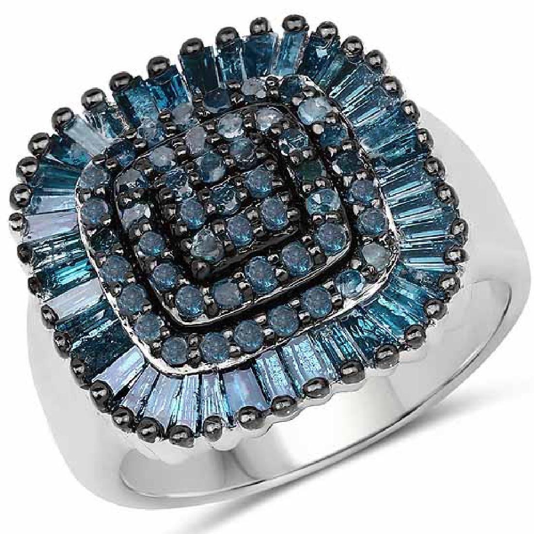 1.34 Carat Genuine Blue Diamond .925 Sterling Silver Ri
