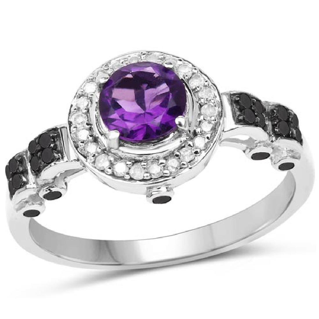 1.02 Carat Genuine Amethyst Black Diamond and White Di