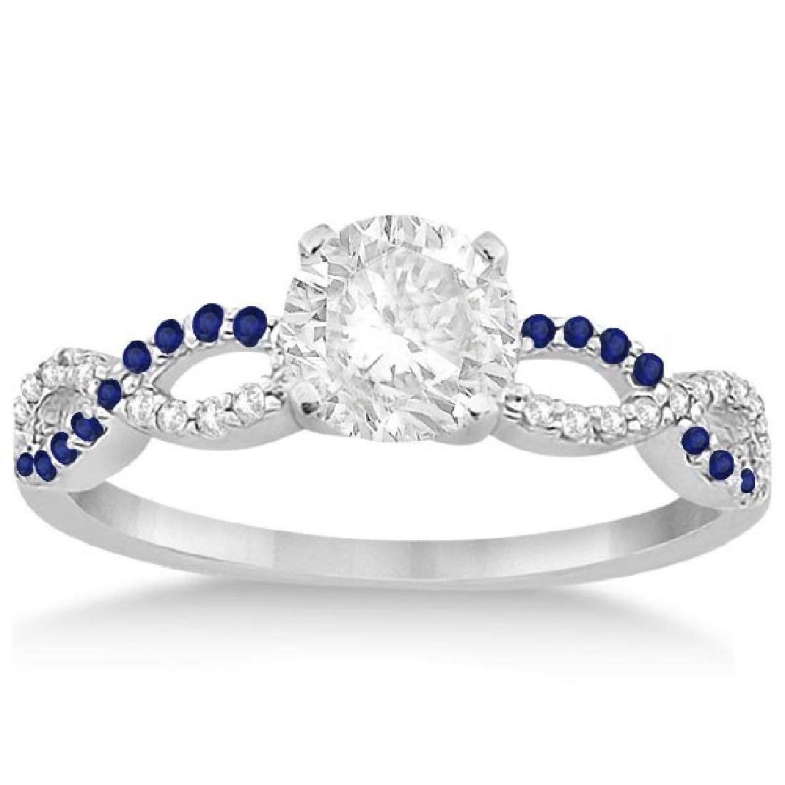 Infinity Diamond and Blue Sapphire Engagement Ring 14K