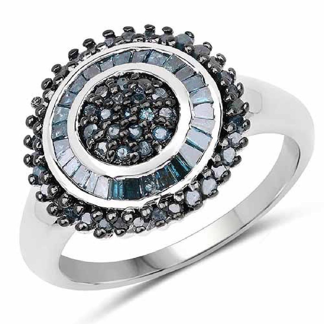0.53 Carat Genuine Blue Diamond .925 Sterling Silver Ri