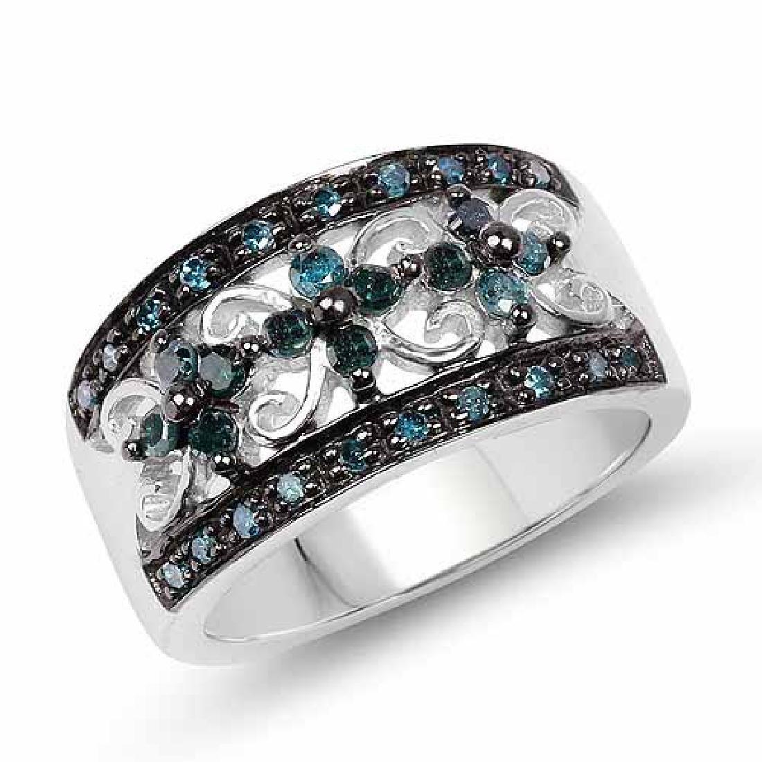 0.54 Carat Genuine Blue Diamond .925 Sterling Silver Ri