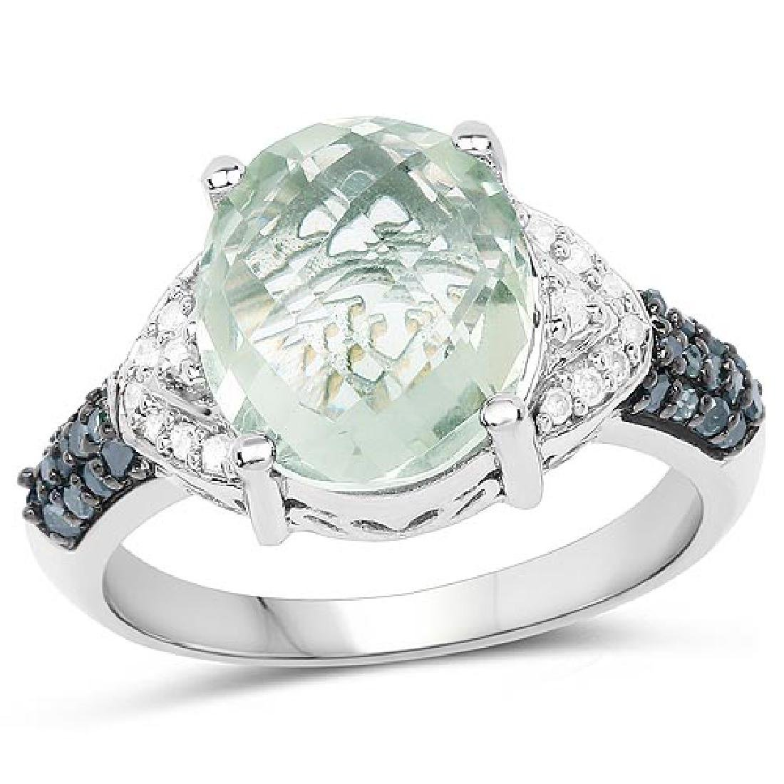 4.24 Carat Genuine Green Amethyst Green Diamond and Wh