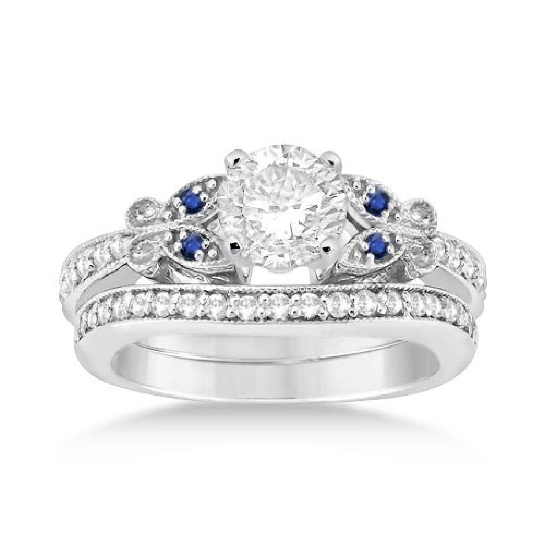 Butterfly Diamond and Blue Sapphire Bridal Set 14k Whit