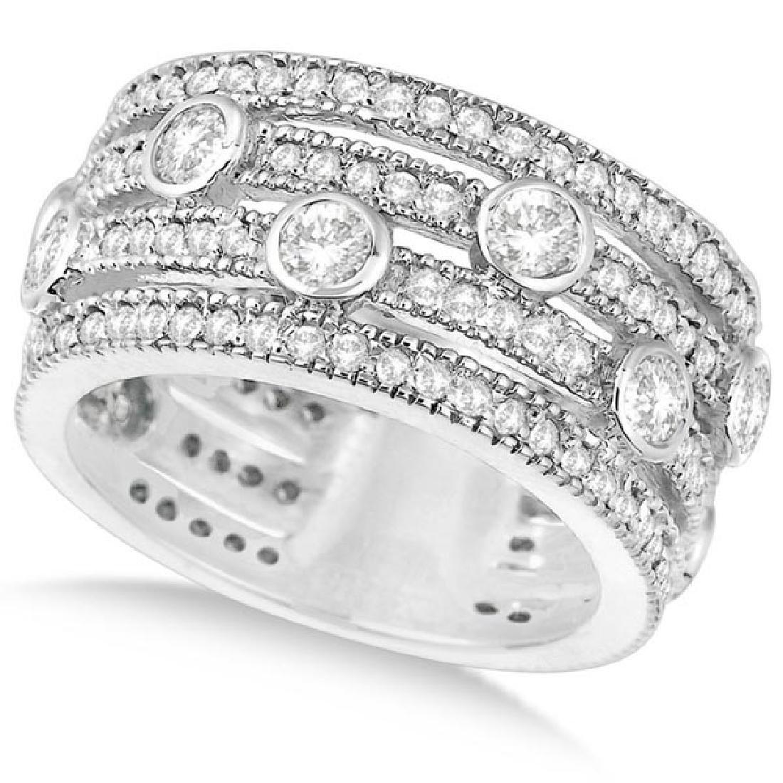Vintage Bezel and Pave-Set Diamond Ring Band 14k White