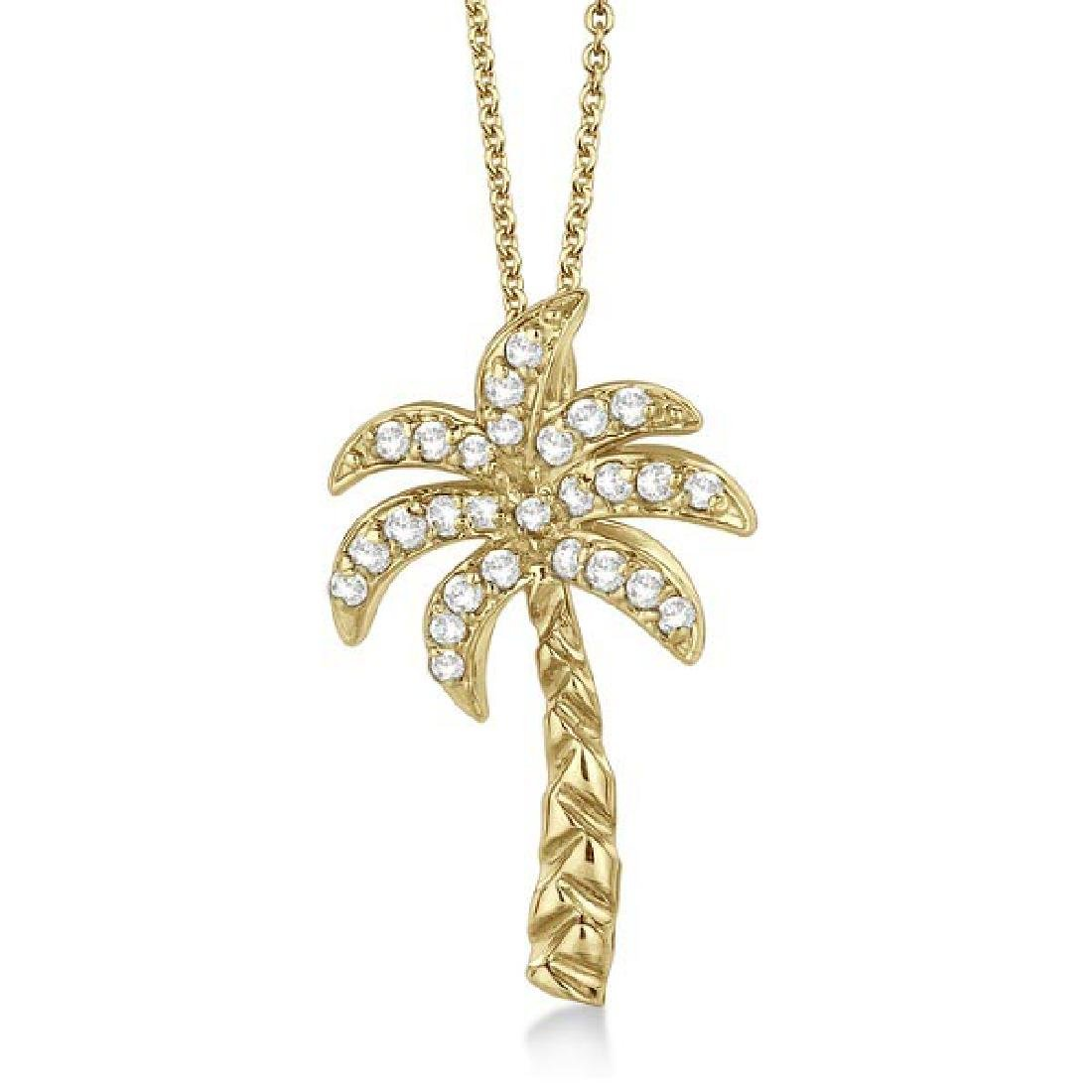 Palm Tree Shaped Diamond Pendant Necklace 14k Yellow Go