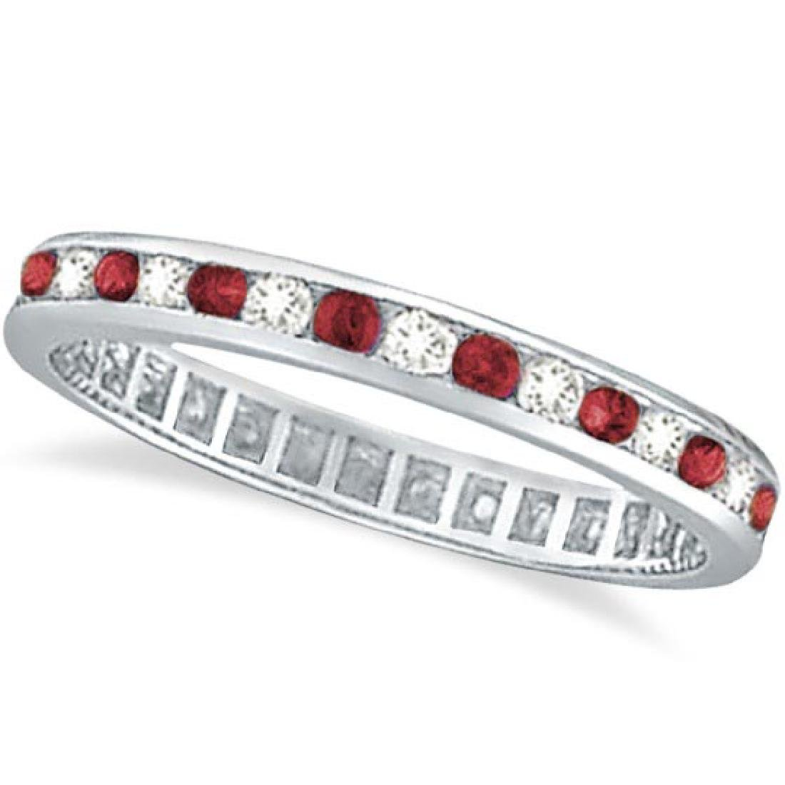 1.04ctw Ruby and Diamond Channel Set Ring Eternity Band