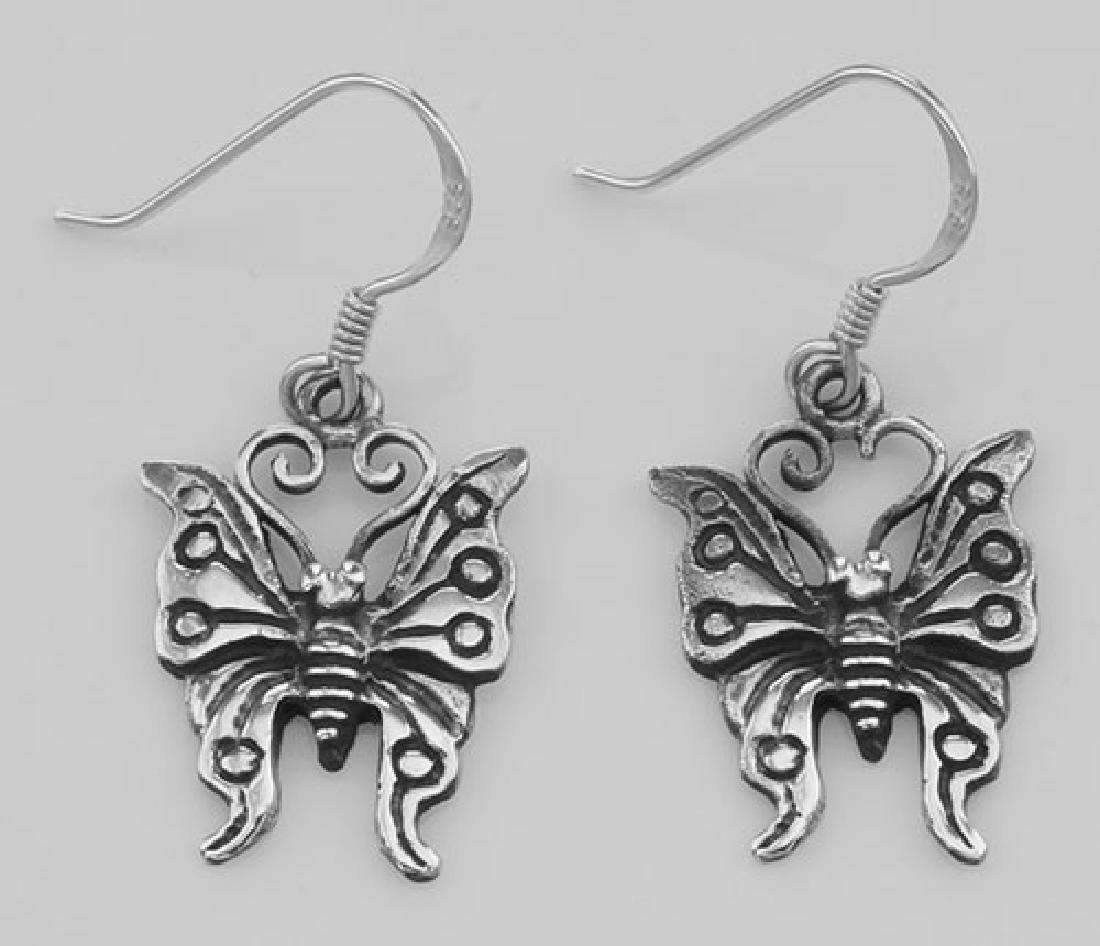 Cute Butterfly French Wire Earrings - Sterling Silver