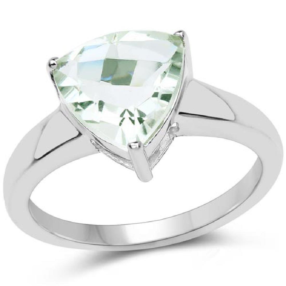 2.25 Carat Genuine Green Amethyst .925 Sterling Silver