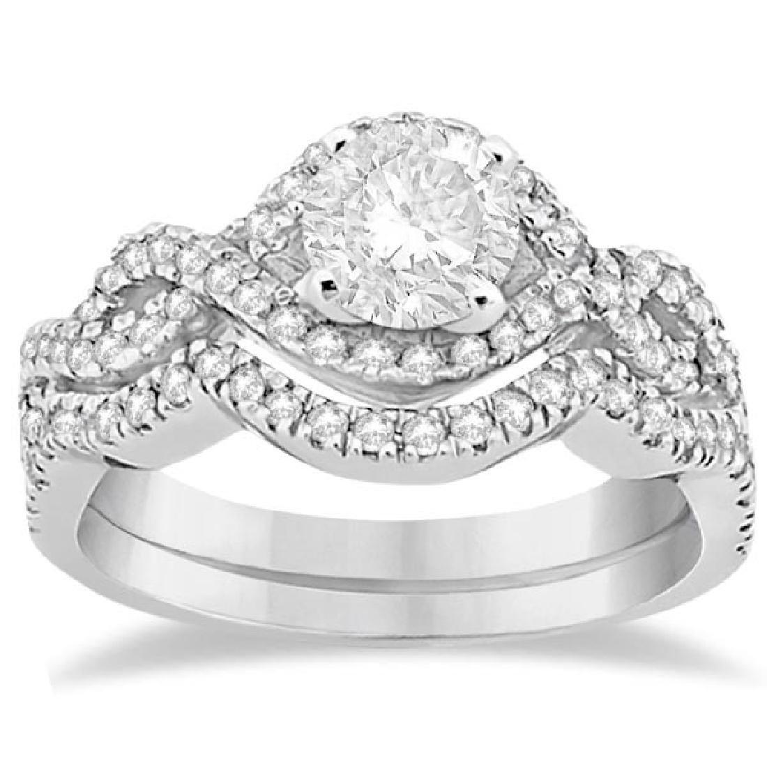 Diamond Infinity Halo Engagement Ring and Band Set 14K
