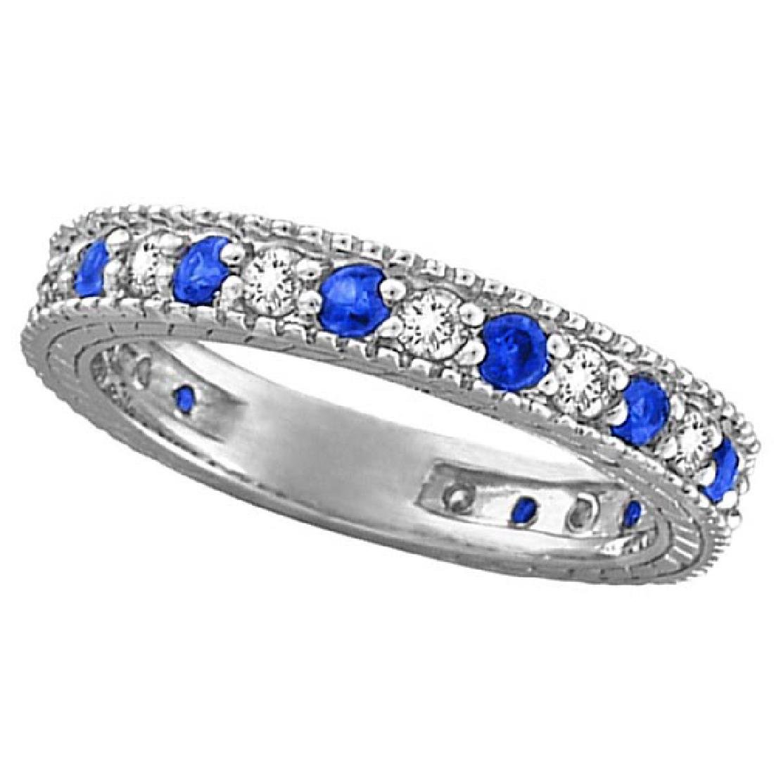 Diamond and Blue Sapphire Anniversary Ring Band in 14k