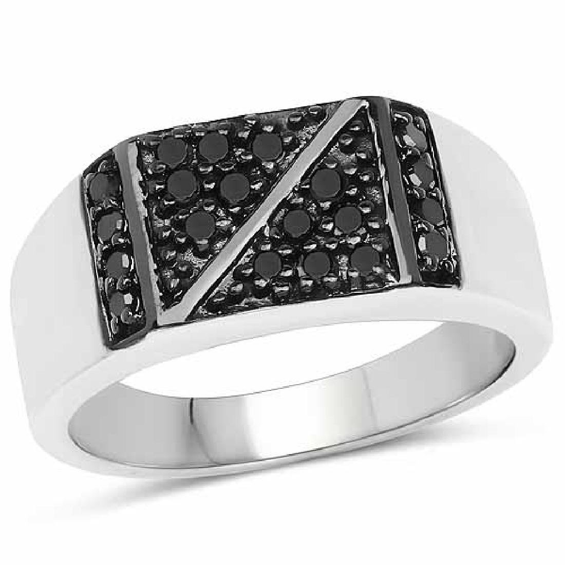 0.35 Carat Genuine Black Diamond .925 Sterling Silver R