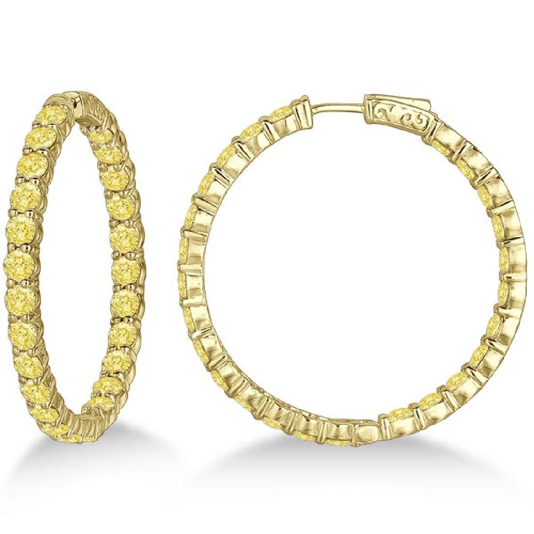 Fancy Yellow Canary Diamond Hoop Earrings 14k Yellow Go