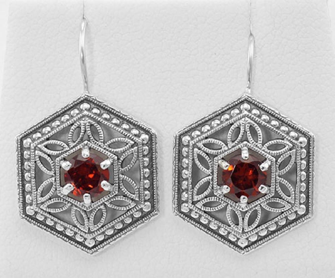 Garnet Filigree Earrings - Sterling Silver