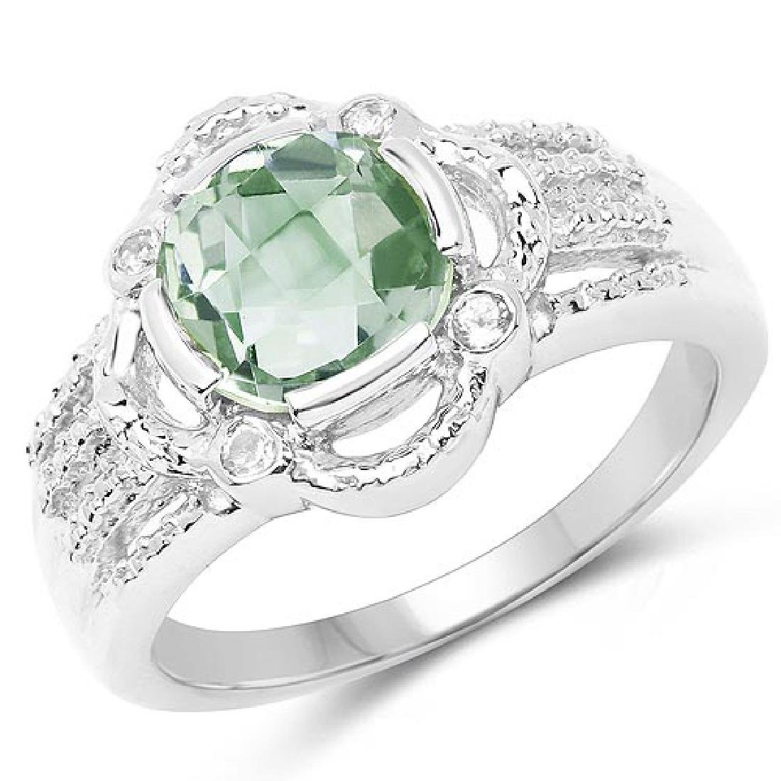1.74 Carat Genuine Green Amethyst and White Topaz .925