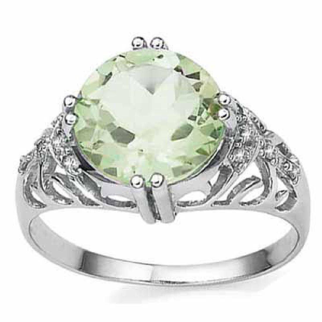 2.599 CARAT TW (3 PCS) GREEN AMETHYST & GENUINE DIAMOND