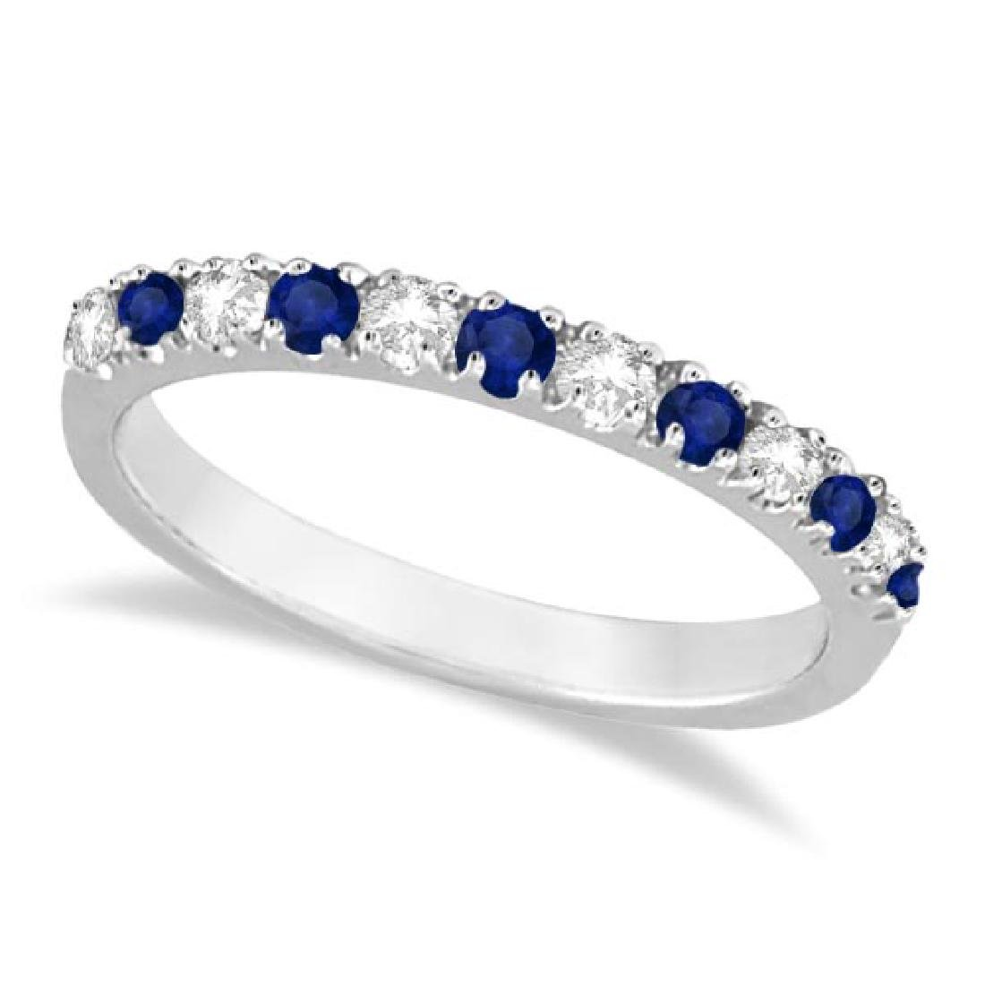 Diamond and Blue Sapphire Ring Anniversary Band 14k Whi
