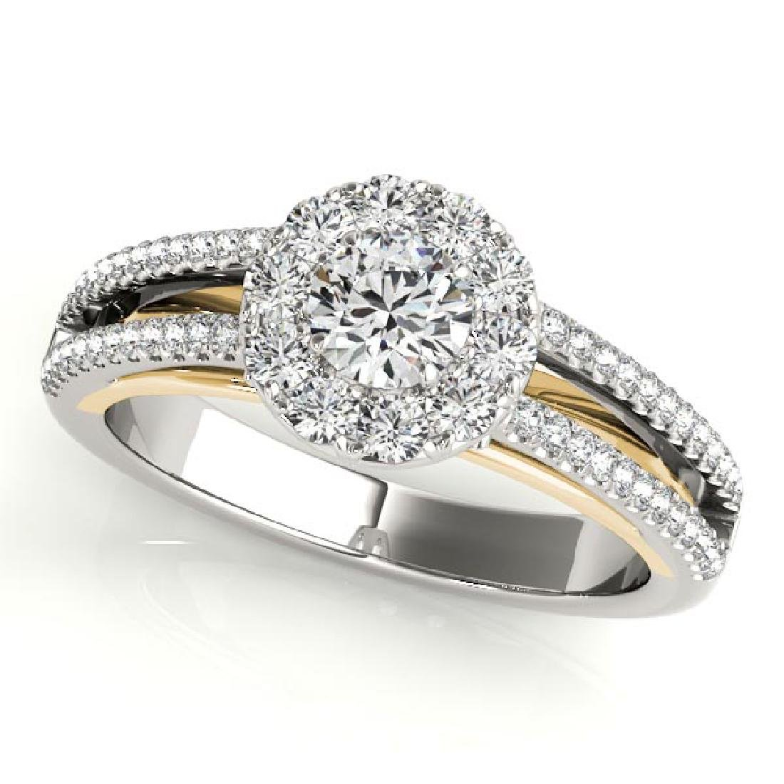 CERTIFIED TWO TONE GOLD 1.14 CT G-H/VS-SI1 DIAMOND HALO