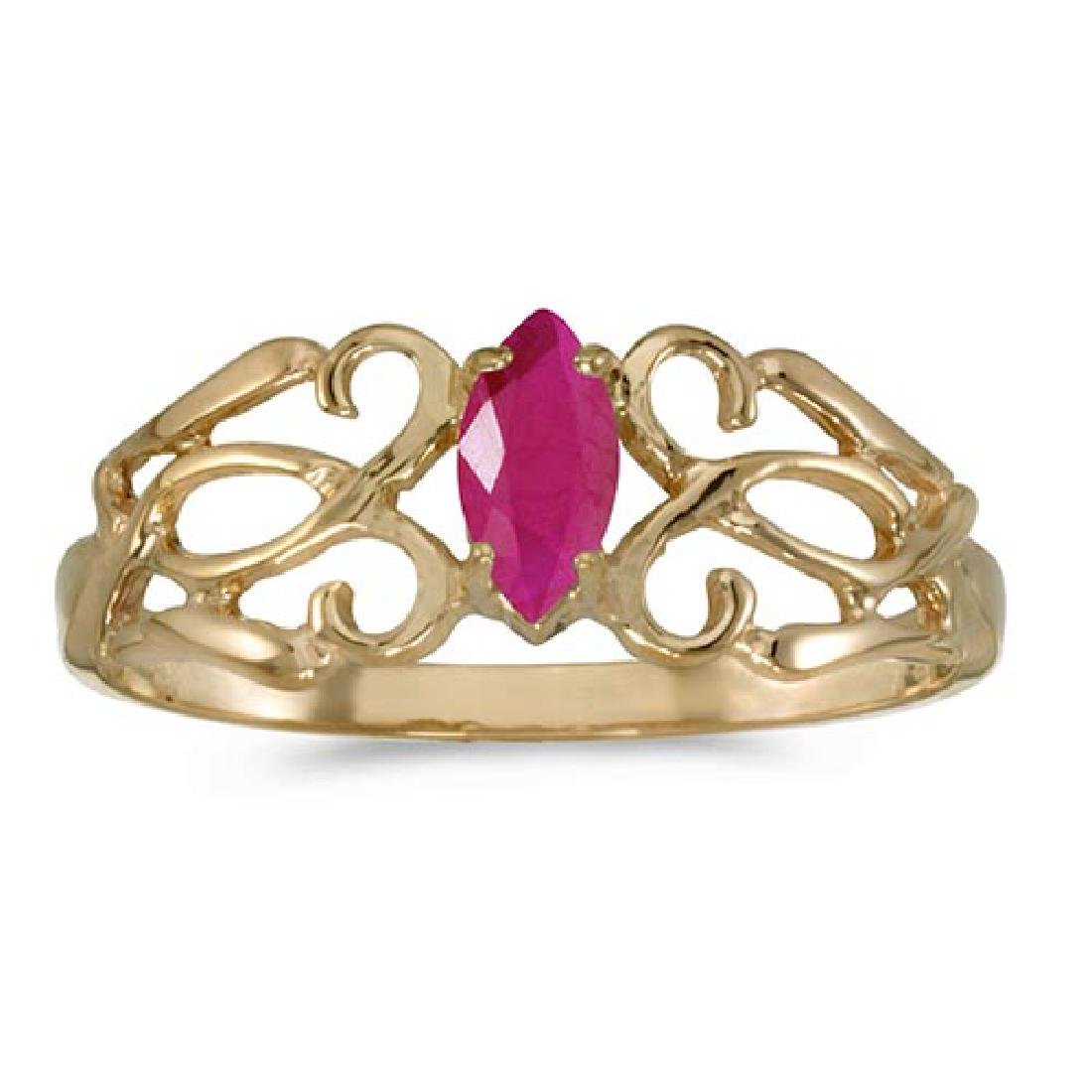 Certified 10k Yellow Gold Marquise Ruby Filagree Ring 0