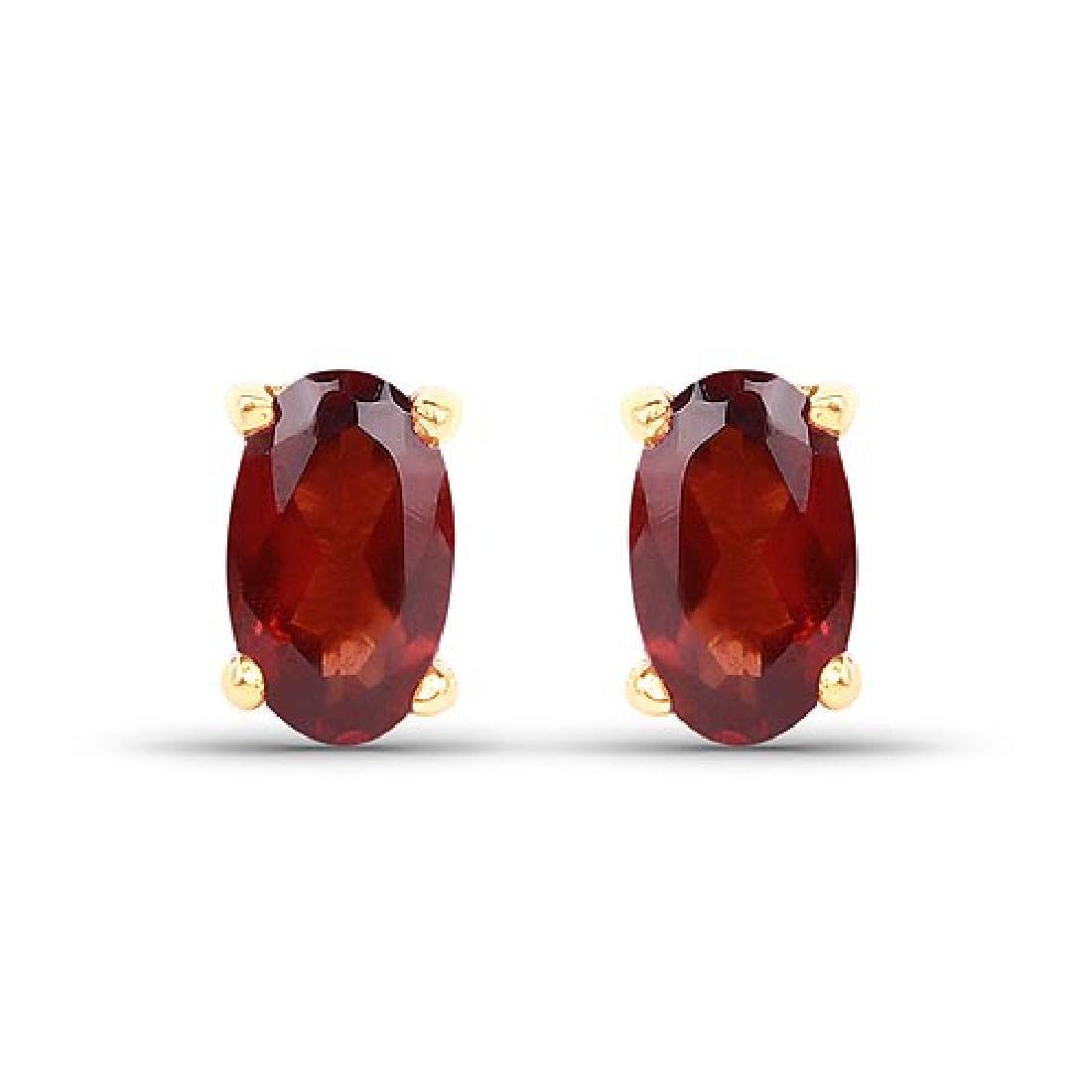 0.64 Carat Genuine Garnet 10K Yellow Gold Earrings