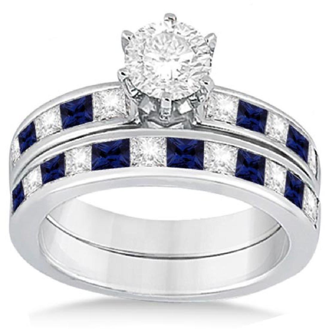Channel Blue Sapphire and Diamond Bridal Set 14k White