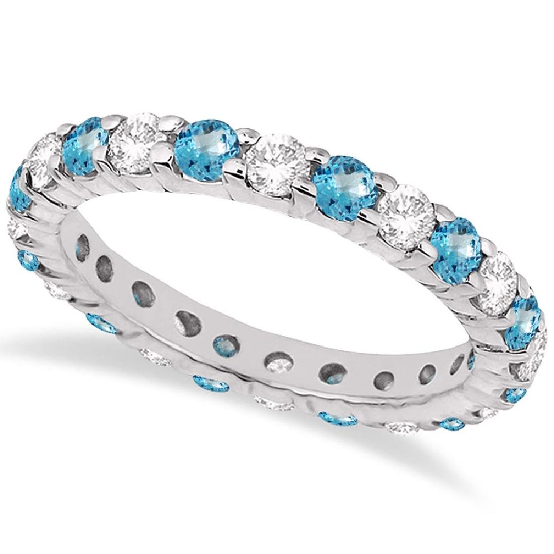 Eternity Diamond and Blue Topaz Ring Band 14k White Gol