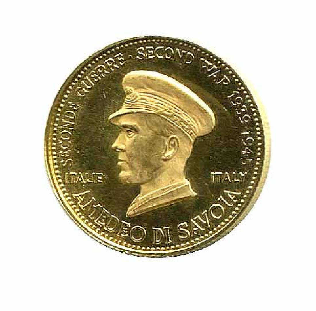 WWII Commemorative Proof Gold Medal 7g. 1958 Amadeo di
