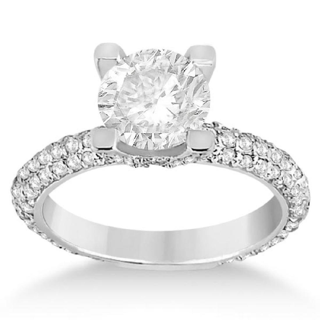 Eternity Pave Set Trio Diamond Engagement Ring 14K Whit