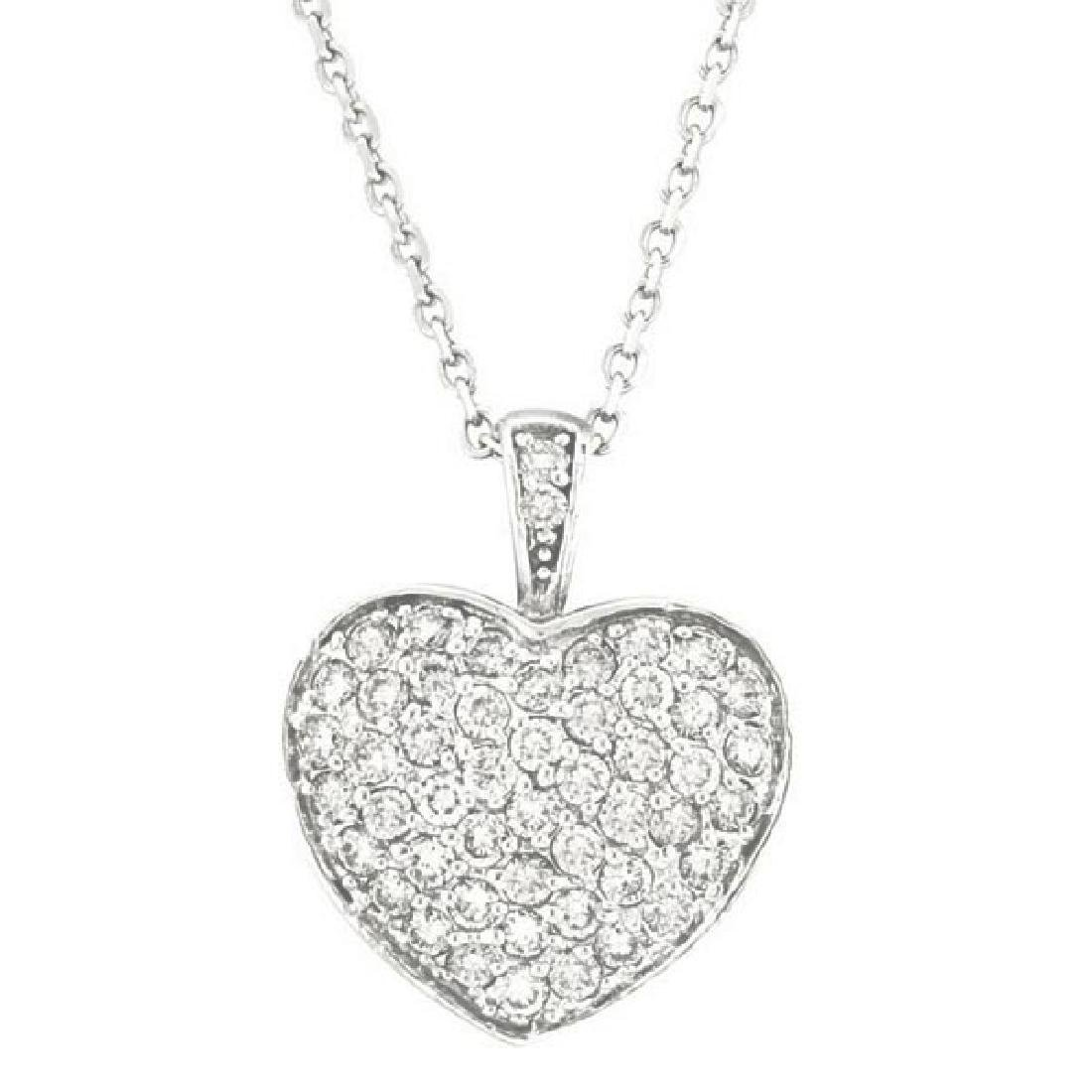 Diamond Puffed Heart Pendant Necklace in 14k White Gold