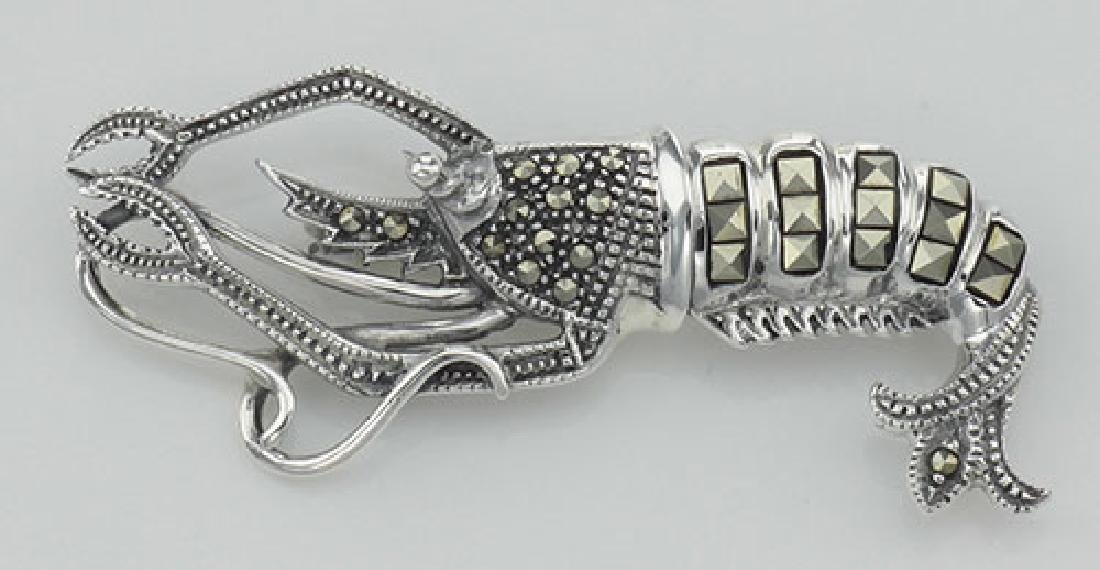 Marcasite Lobster Pin with Moving Tail - Sterling Silve