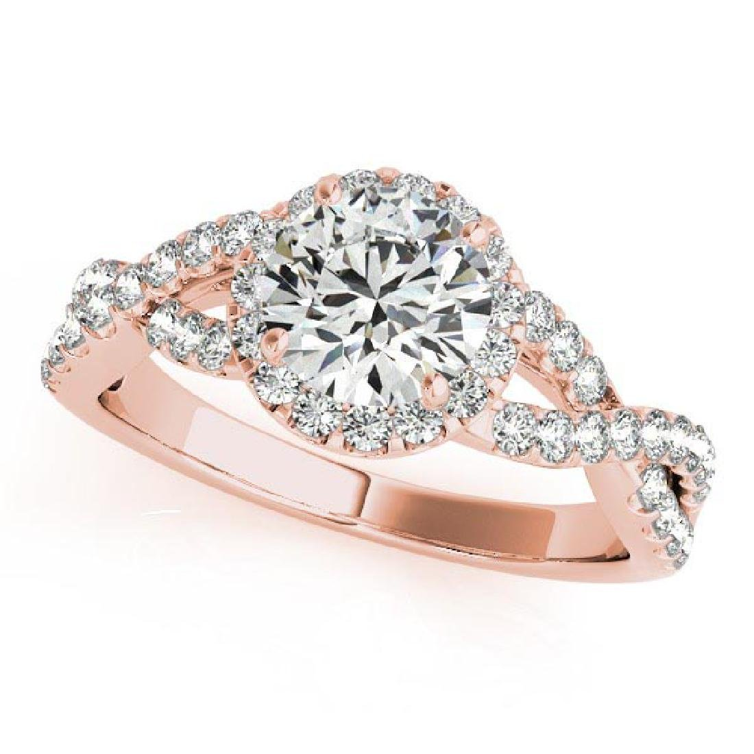 Diamond Infinity Twisted Halo Engagement Ring 14k Rose