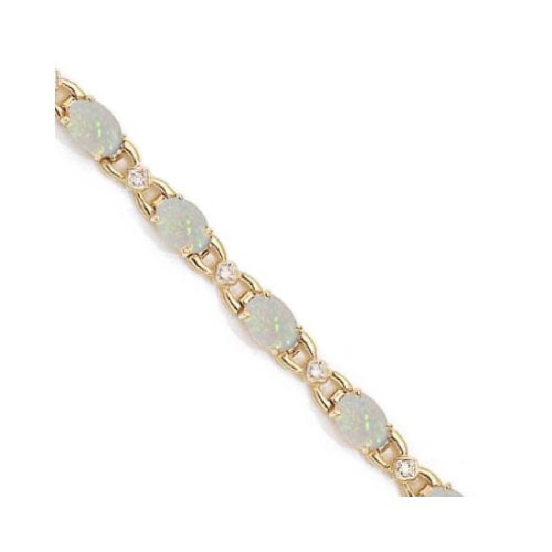 Diamond and Opal Bracelet 14k Yellow Gold (10.26 ctw)
