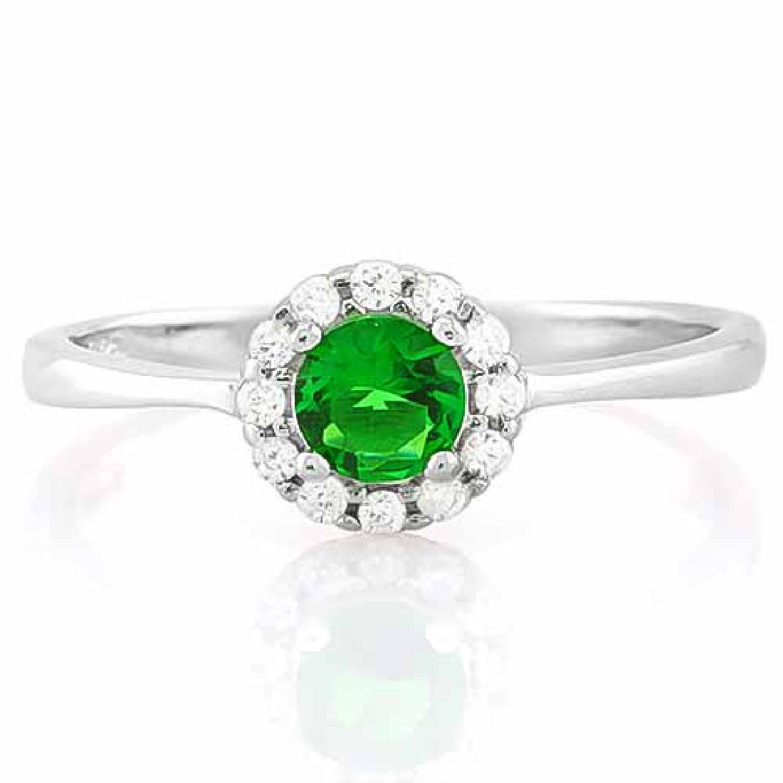 1/2 CARAT CREATED EMERALD & (12 PCS) FLAWLESS CREATED D