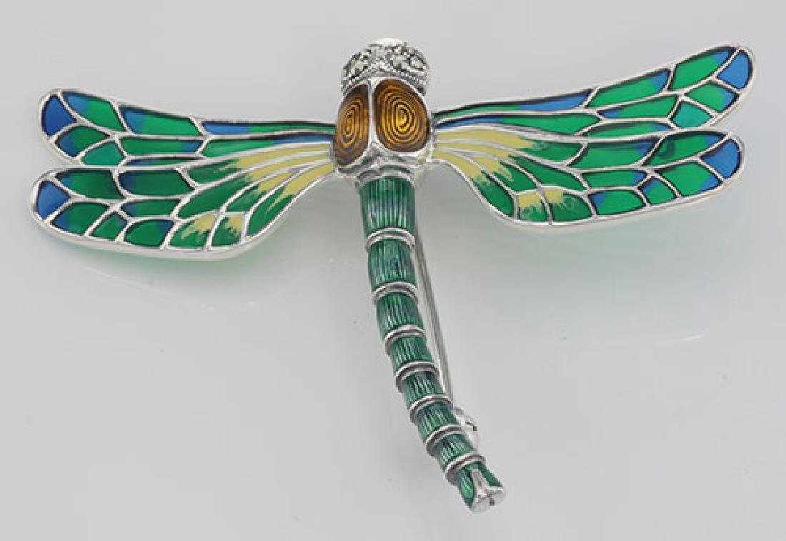 French Style Plique a Jour Multi-Color Enamel Dragonfly