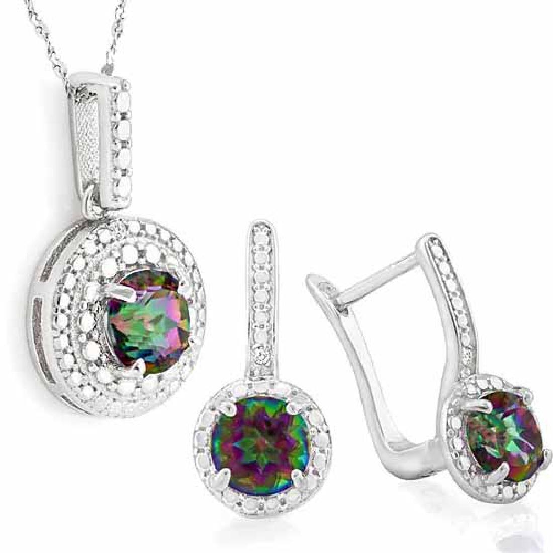3 CARAT MYSTIC GEMSTONE & DIAMOND 925 STERLING SILVER S