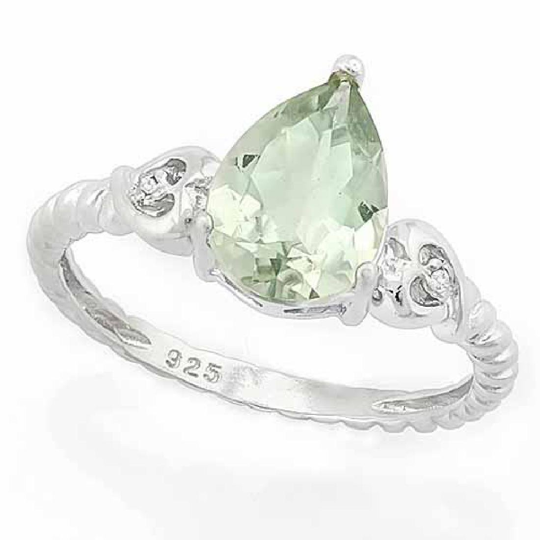 1 1/2 CARAT GREEN AMETHYST & DIAMOND 925 STERLING SILVE