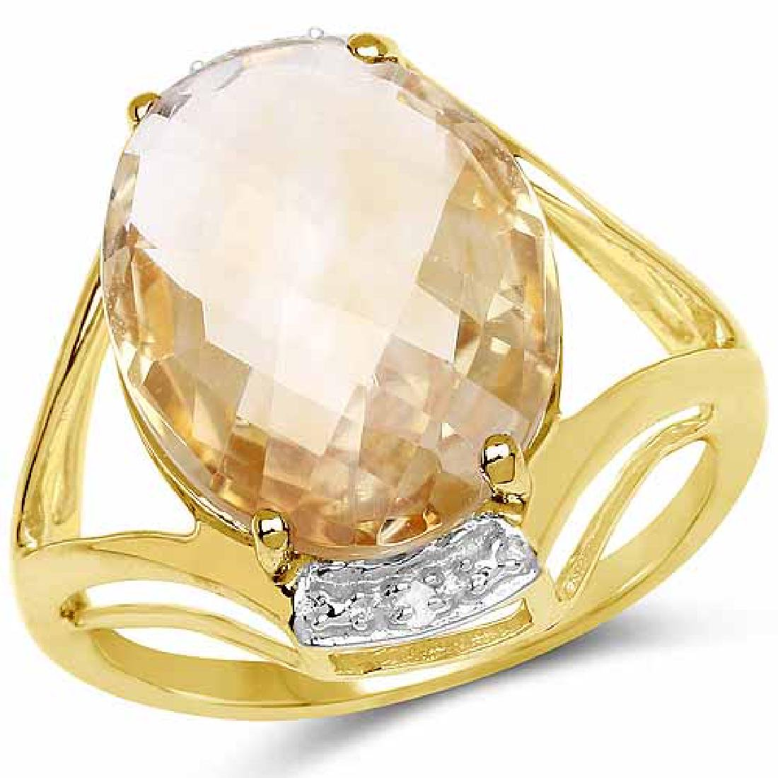14K Yellow Gold Plated 7.27 Carat Genuine Citrine and W