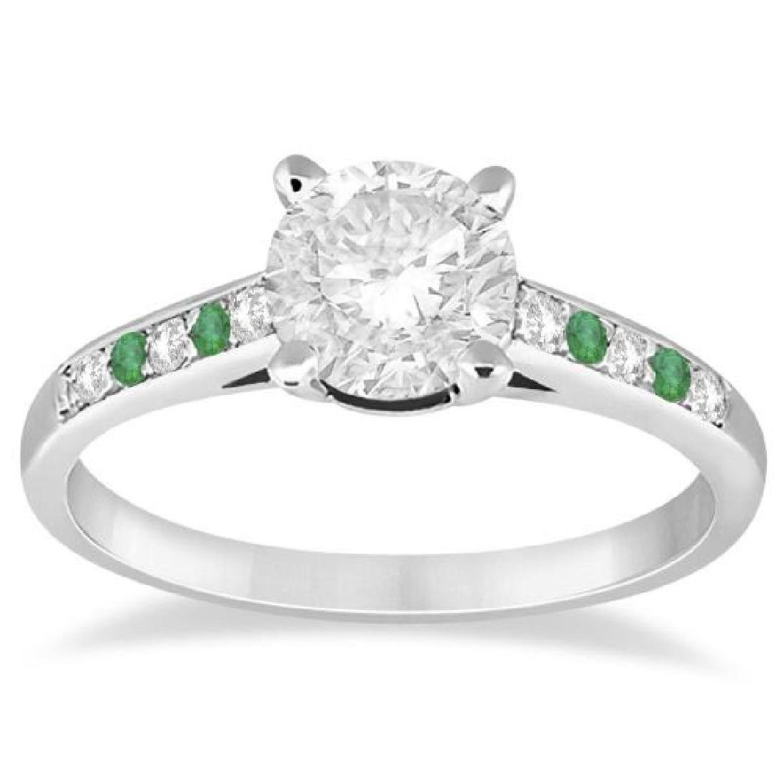 Cathedral Emerald and Diamond Engagement Ring 14k White
