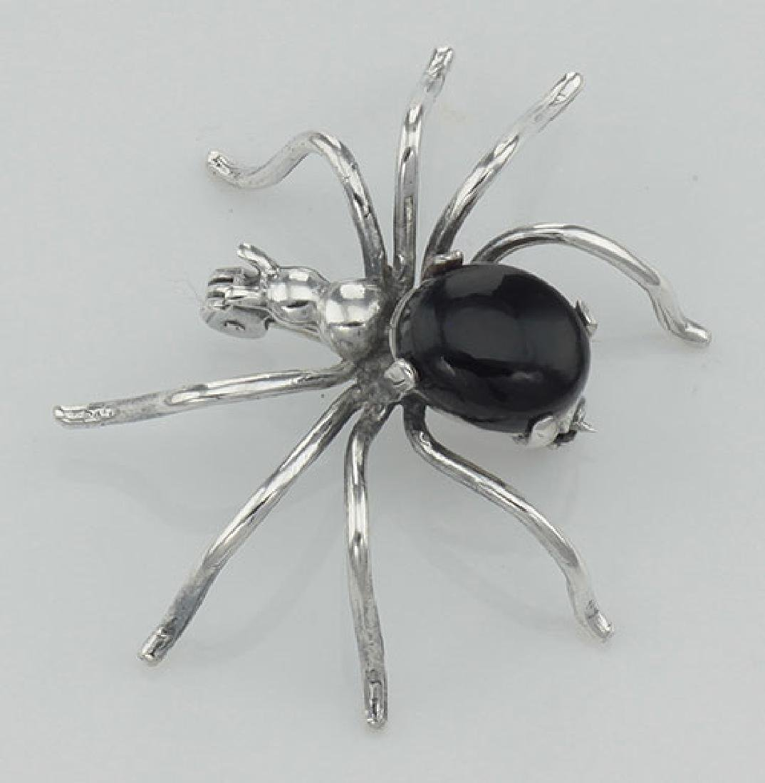 Black Onyx Spider Pin or Brooch - Sterling Silver