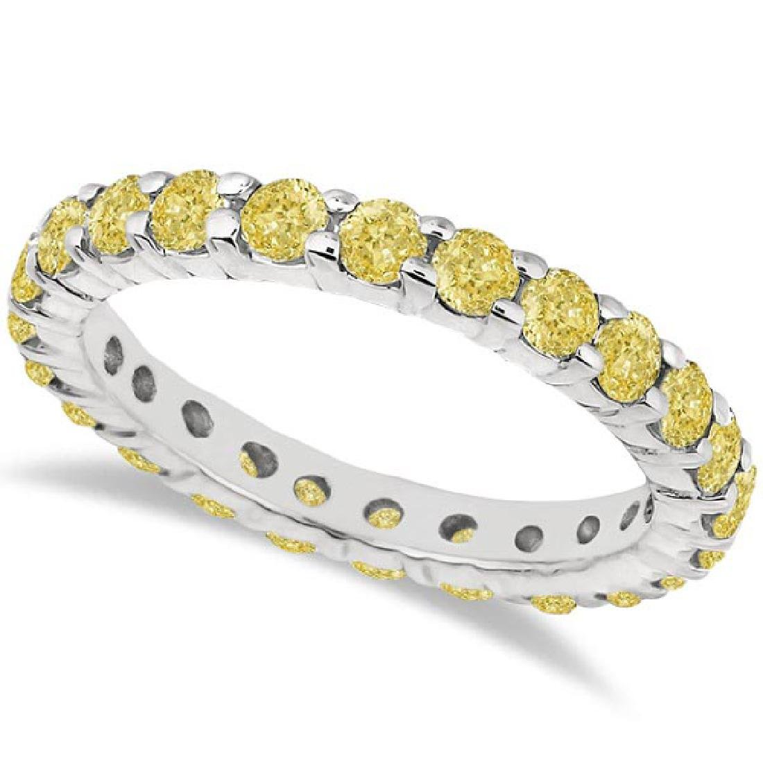 Fancy Yellow Canary Diamond Eternity Ring Band 14k Whit