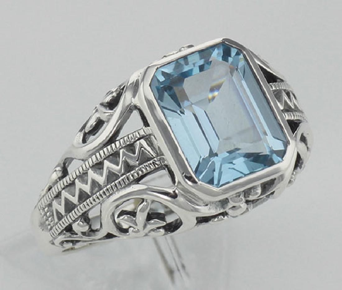 Large Emerald Cut Genuine Blue Topaz Filigree Ring - St