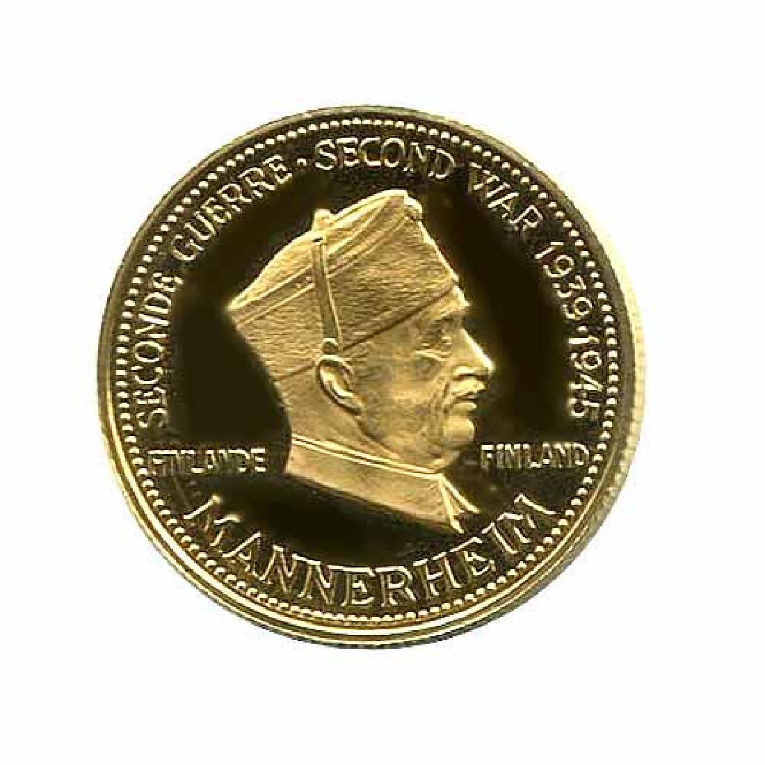 WWII Commemorative Proof Gold Medal 7g. 1958 Mannerheim